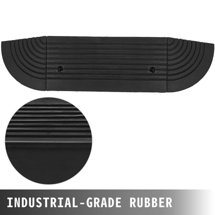 11000lb Rubber Curb Ramp With 2 End Caps Parking Lot Multipurpose Durable