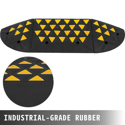 15400lb Rubber Curb Threshold Ramp With Round End Caps Large Capacity Durable