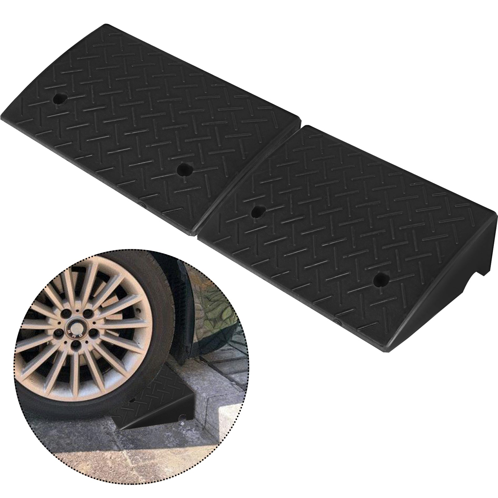 Rubber Threshold Ramp Curb Ramp Truck Dock Plate2 Pack 19''x12.7''x5.3""