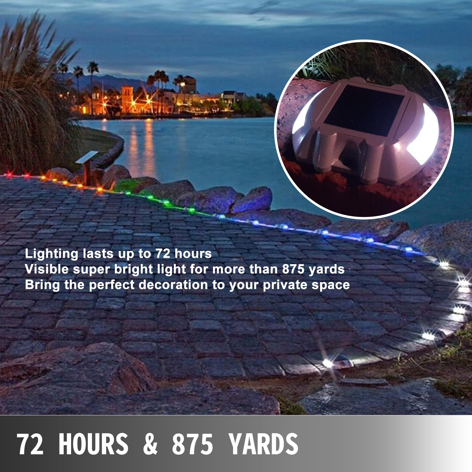 Driveway Lights, Solar Dock Lights 12-pack, Pathway Lights With Switch In White
