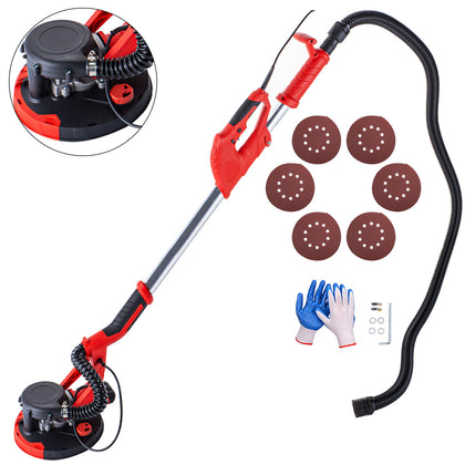 Drywall Sander 850w Wall Grinding Extendable W/ Vacuum System 6 Sanding Discs