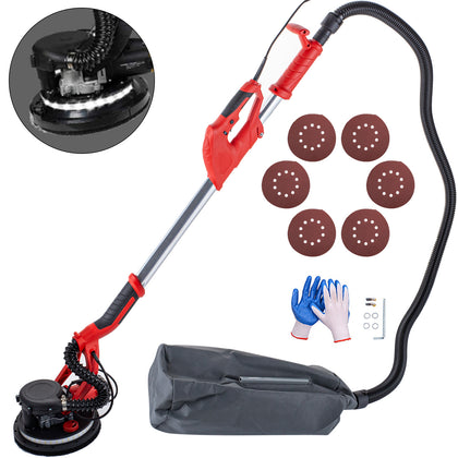Drywall Sander 850w 225mm Extendable Handle 5 Speed W/ Led Light And Vacuum Bag