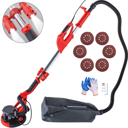 Drywall Sander 850w Wall Grinding Extendable 5 Speeds W/ Led Light + Vacuum Bag