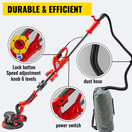 Drywall Sander 850w Folding Handle Variable Speed Vacuum System W/ Led Light