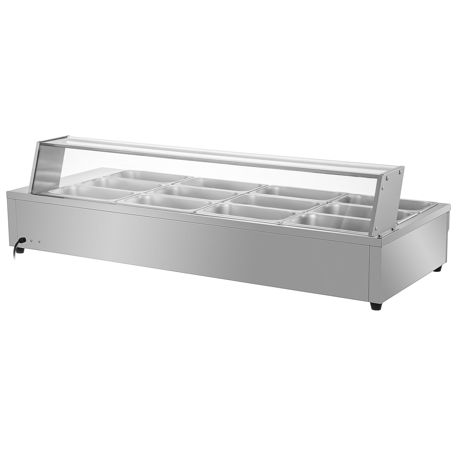 12-pan Bain Marie Food Warmer 6-inch Deep Commercial Food Steam Table 1800w Sus