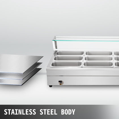 Bain Marie Food Warmer, Commercial Food Steam Table, 9 Pans, With Glass Shield
