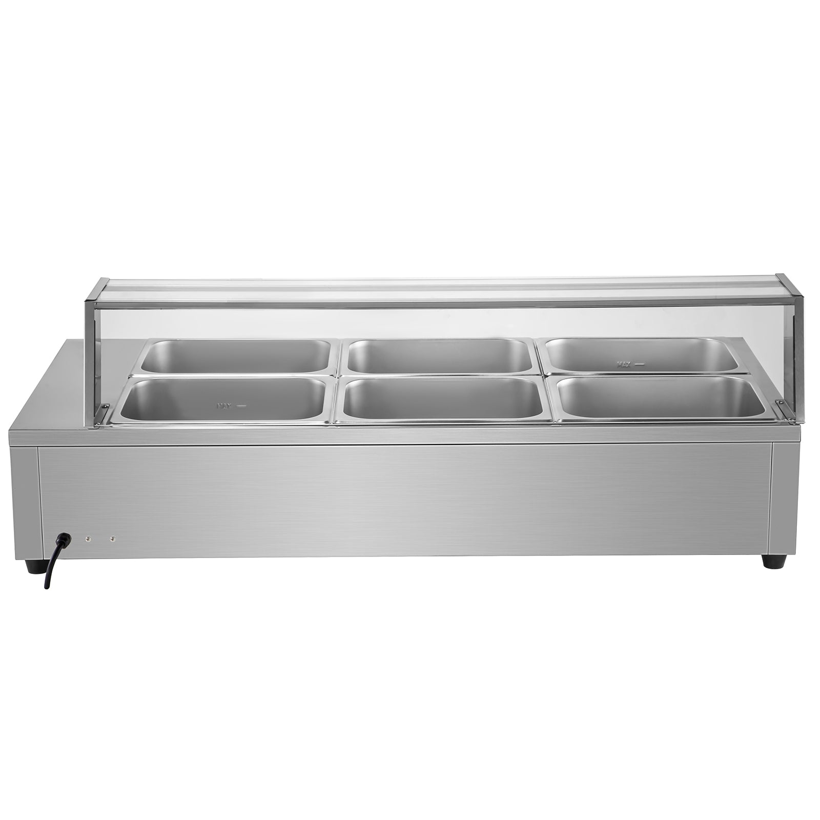 6-pan Bain Marie Food Warmer 6-inch Deep Commercial Food Steam Table 1500w Sus