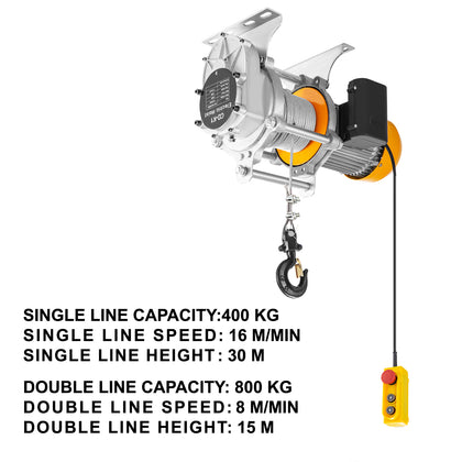 Vevor 1760lbs Electric Hoist Winch Lifting Engine Crane Lift Hook W/ Remote