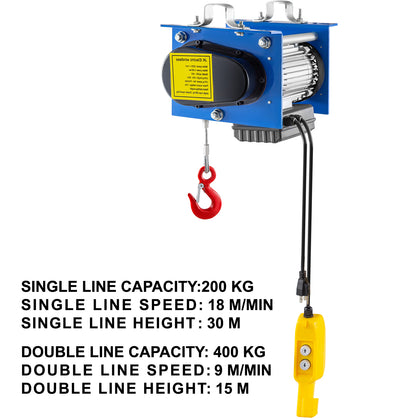Vevor 880lb Electric Wire Cable Hoist Overhead Crane Lift W/ Wire Remote Control