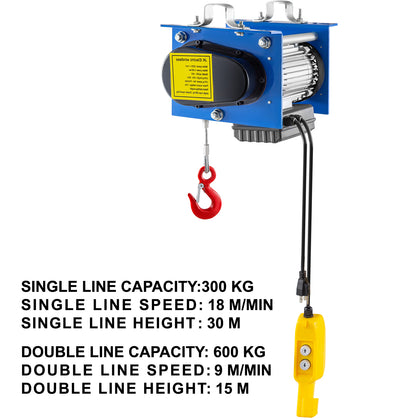 Vevor 1320lb Electric Wire Cable Hoist Overhead Crane Lift W/wire Remote Control