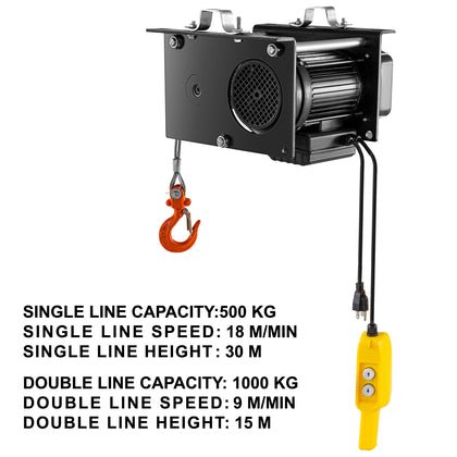 Vevor 2200lb Electric Wire Cable Hoist Overhead Crane Lift W/wire Remote Control