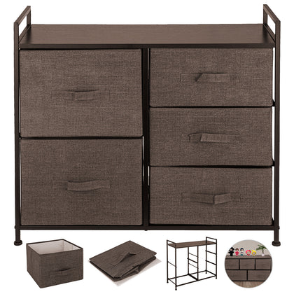 Fabric Dresser Chest 5 Drawers Furniture Bedroom Storage Organizer Wood Coffee