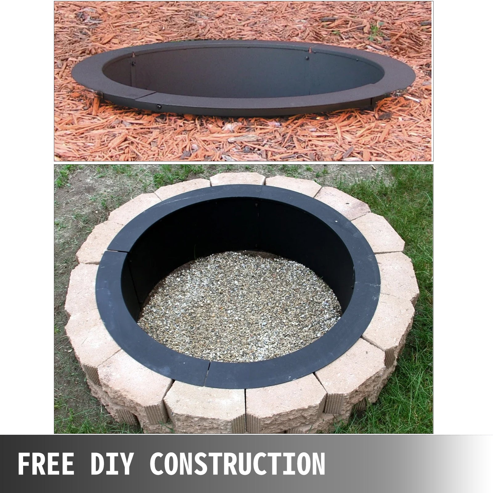 Fire Pit Ring/liner Diy Above Or In-ground 45 Inch Outside X 39 Inch Inside