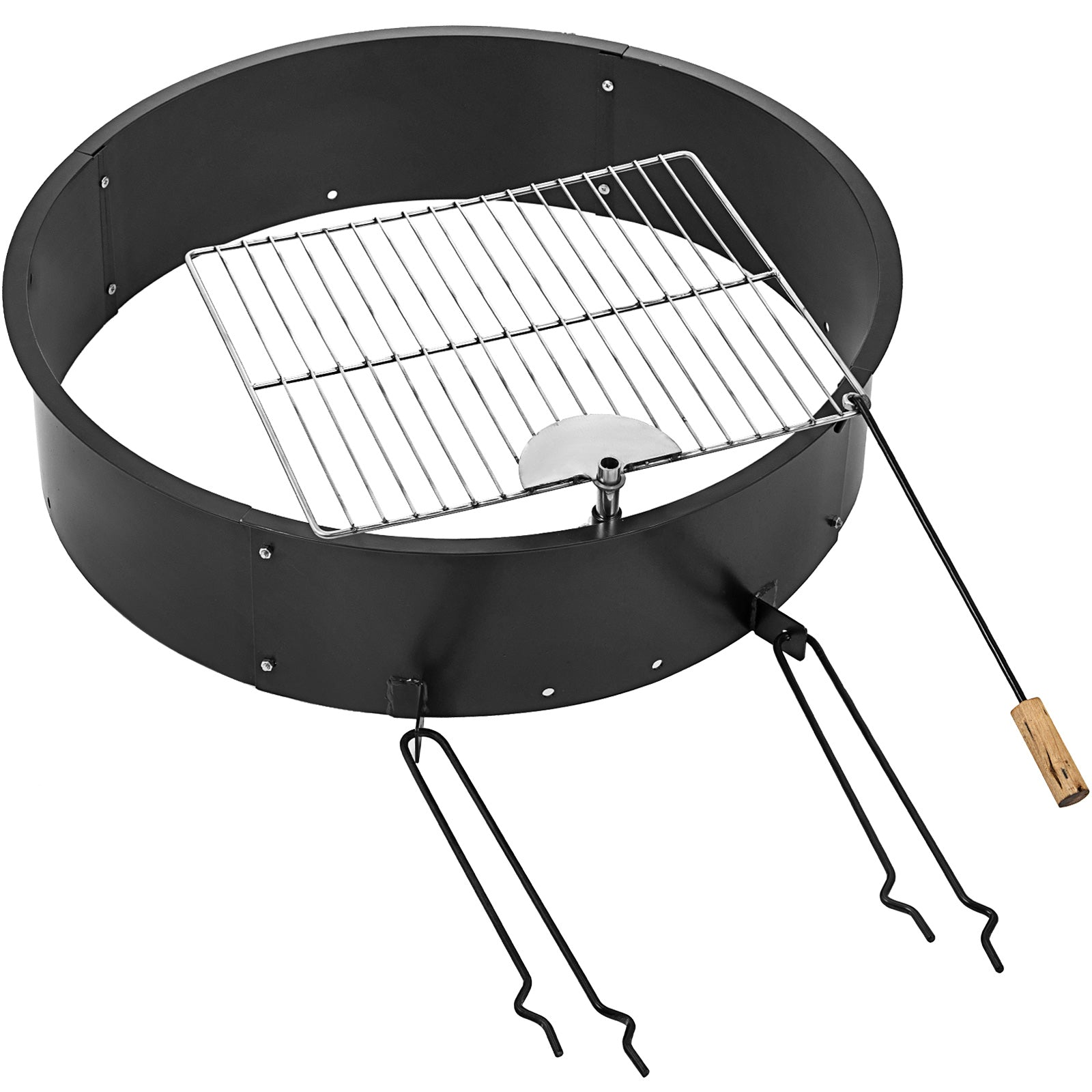 "32""diameter Fire Pit Ring/liner With Grill Metal Bbq Cooking Grate Party"