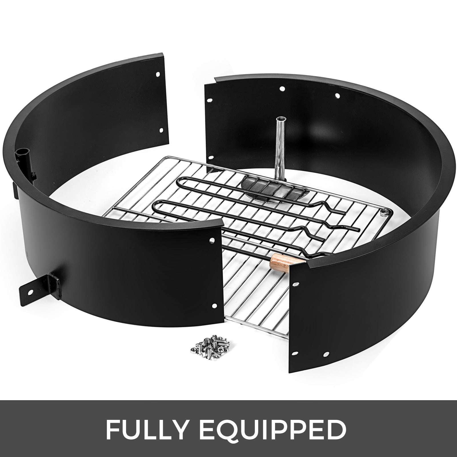 """32""""diameter Fire Pit Ring/liner With Grill Metal Bbq ..."""