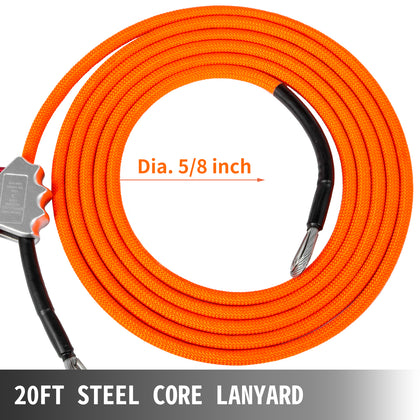 Vevor Flip Line Steel Core Lanyard 5/8 Inchx20ft W/grab Carabiner, Swivel Snap