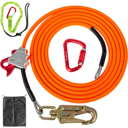 Vevor Flip Line, Steel Core Flipline 1/2 Inchx16ft Flipline Grab Carabiner Kit