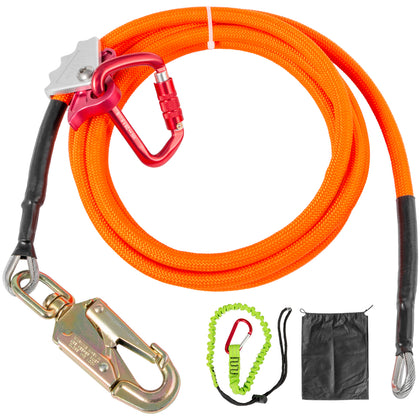 Vevor Steel Core Lanyard Flipline 5/8 Inchx8 Ft Flipline Grab Carabiner Kit
