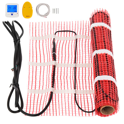 90 Sqft Electric Tile Radiant Warm Floor Heating Mat Kit Hotel Settable Ceramic