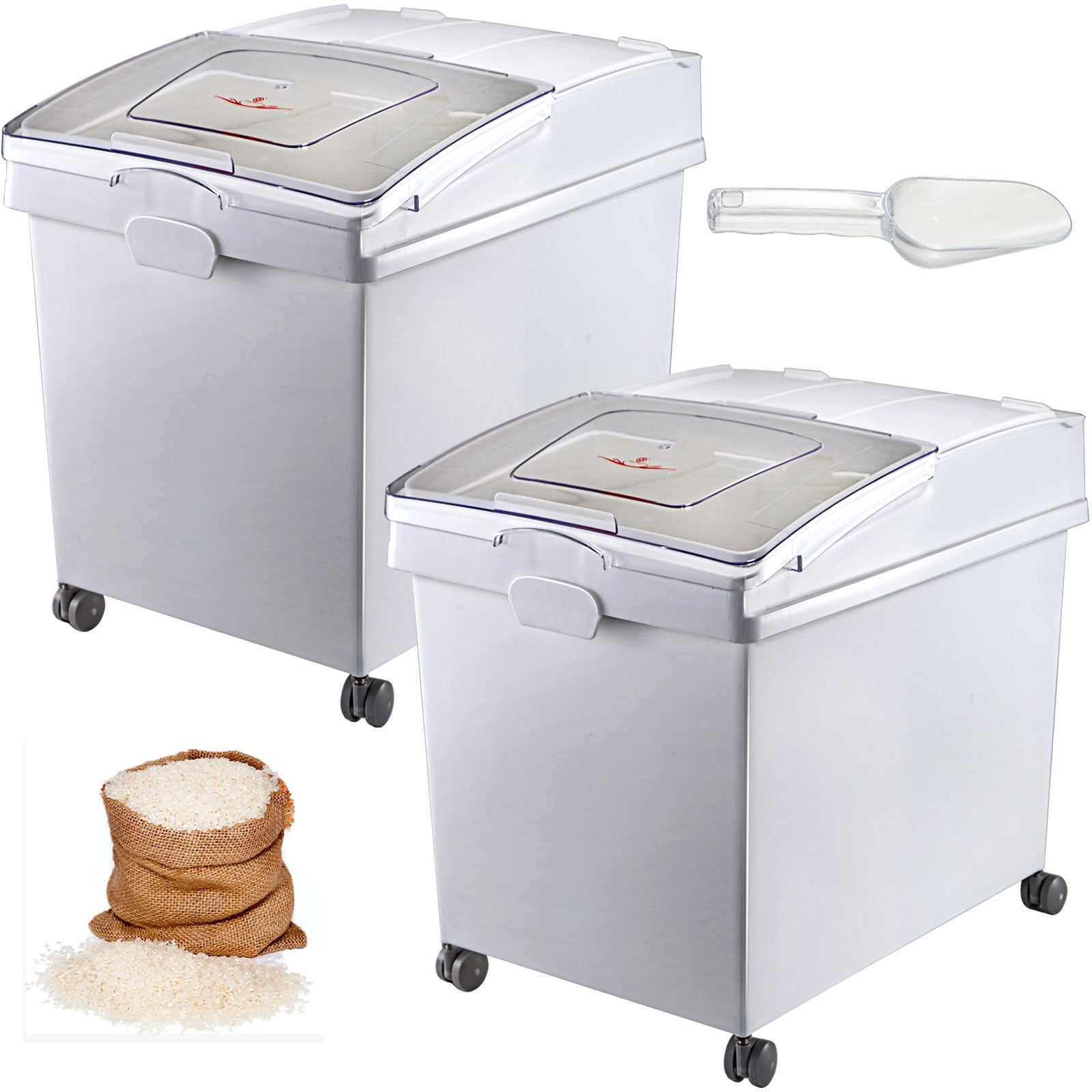 2 Pack Ingredient Bin With Casters 10.5 Gal Mobile Restaurant Kitchen Flour Bins