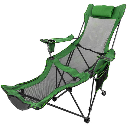 Green Reclining Folding Camp Chair With Footrest Barcelona Tour Foldable