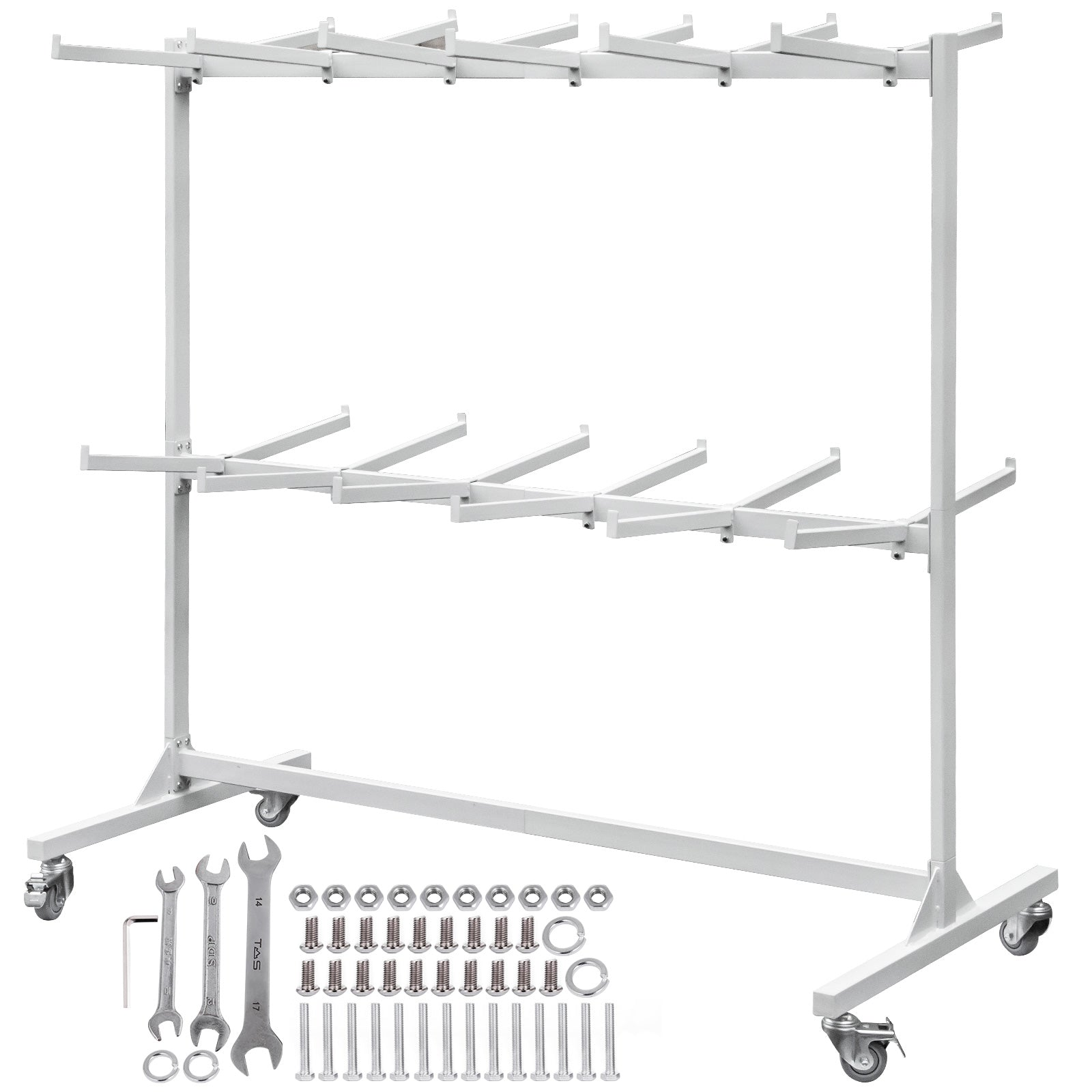 Folding Chair Cart Folding Chair Rack 2-layers Chair Rack For 84 Chairs Storage