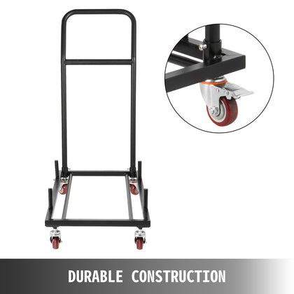 Heavy Duty Chair Cart Black Steel Storage Dolly Stack Up To 36 Folding Chairs