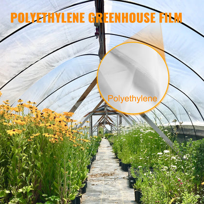 Vevor Greenhouse Film Greenhouse Polyethylene Film 24x50ft 6 Mil Clear Cover