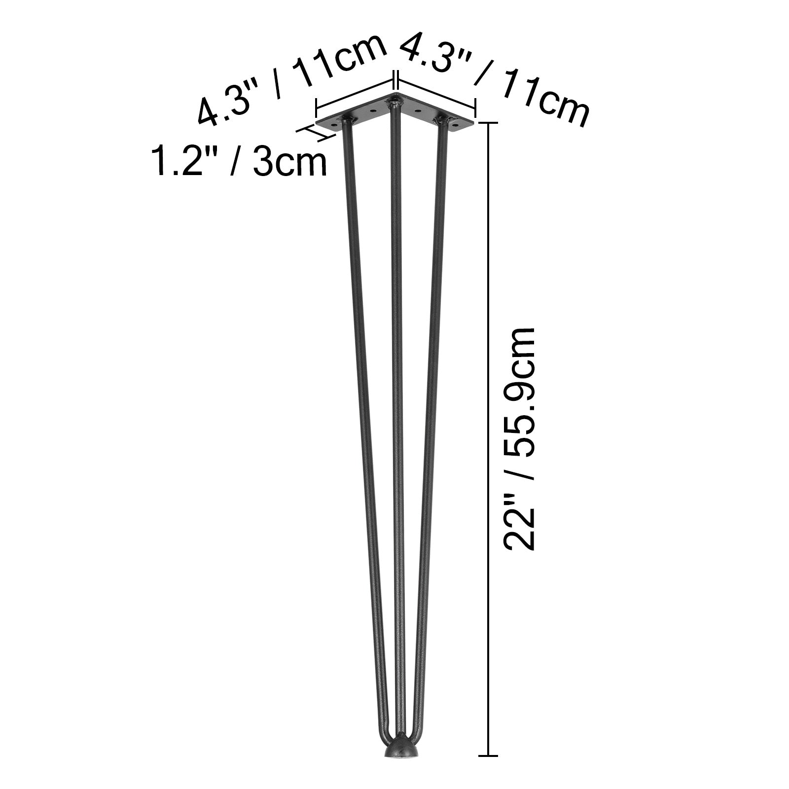 "Vevor 22"" Coffee Table Metal Hairpin Legs Solid Carbon Steel Bar Black Set Of 4"