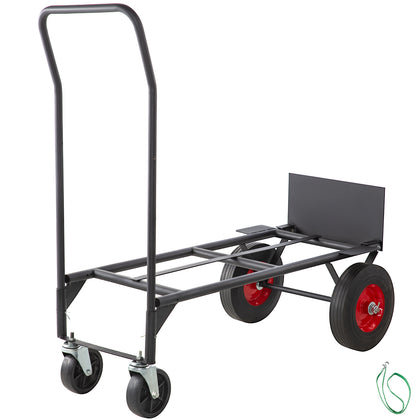 Hand Truck Convertible Dolly 200lb/300lb With 10inch Solid Wheels In Black