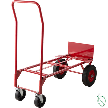 Hand Truck Convertible Dolly 200lb/300lb With 10inch Solid Wheels In Red