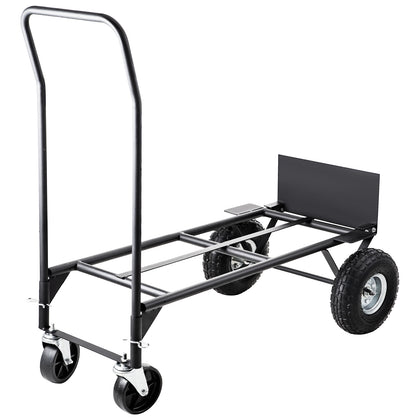 Hand Truck Convertible Dolly 200lb/300lb With 10inch Pneumaticwheels In Black
