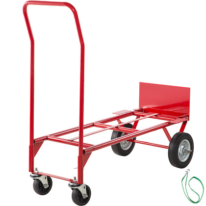 Hand Truck Convertible Dolly 200lb/300lb With 8inch Solid Wheels In Red