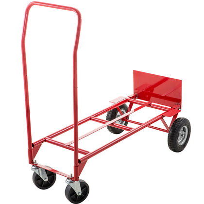Hand Truck Convertible Dolly 200lb/300lb With 8inch Pneumatic Wheels In Red