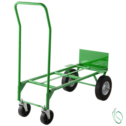 Hand Truck Push Cartconvertible Dolly 300lb W/ 8inch Solid Wheels In Green