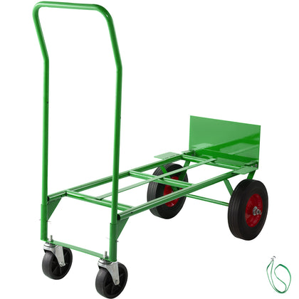 Hand Truck Convertible Dolly 200lb/300lb With 10inch Pneumaticwheels In Green