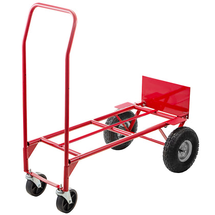 Hand Truck Convertible Dolly 200lb/300lb With 10inch Pneumaticwheels In Red