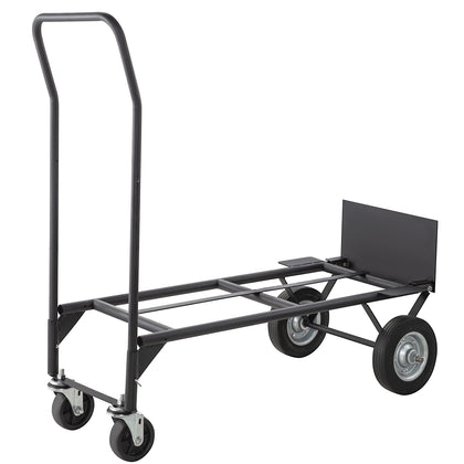 Hand Truck Convertible Dolly 200lb/300lb With 8inch Solid Wheels In Black