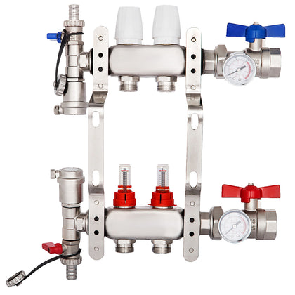 2-branch/loop Pex Radiant Floor Heating Manifold Set Stainless Premium