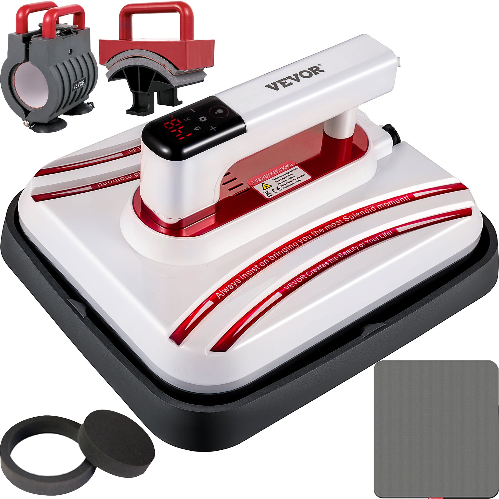 Heat Press Easy Press 10 X 10 Red Portable 3 In 1 Mini Press For Diy T-shirt Mug