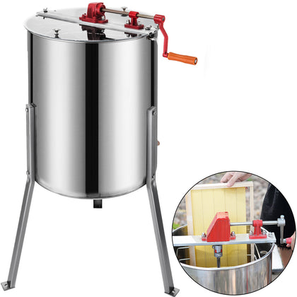 4 Frame Honey Extractor Stainless Steel Manual Honeycomb Spinner Beekeeping