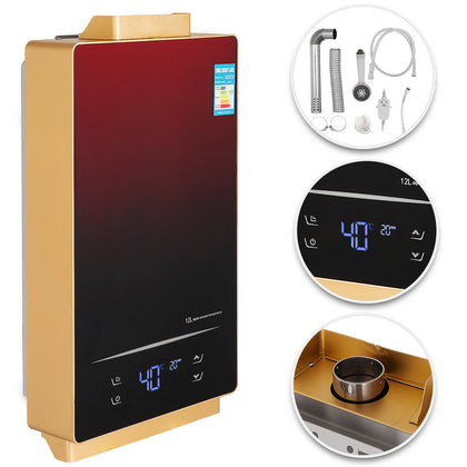 Tankless Hot Water Heater 12l Liquid Propane Gas Lpg W/ Shower Kit Touch Screen