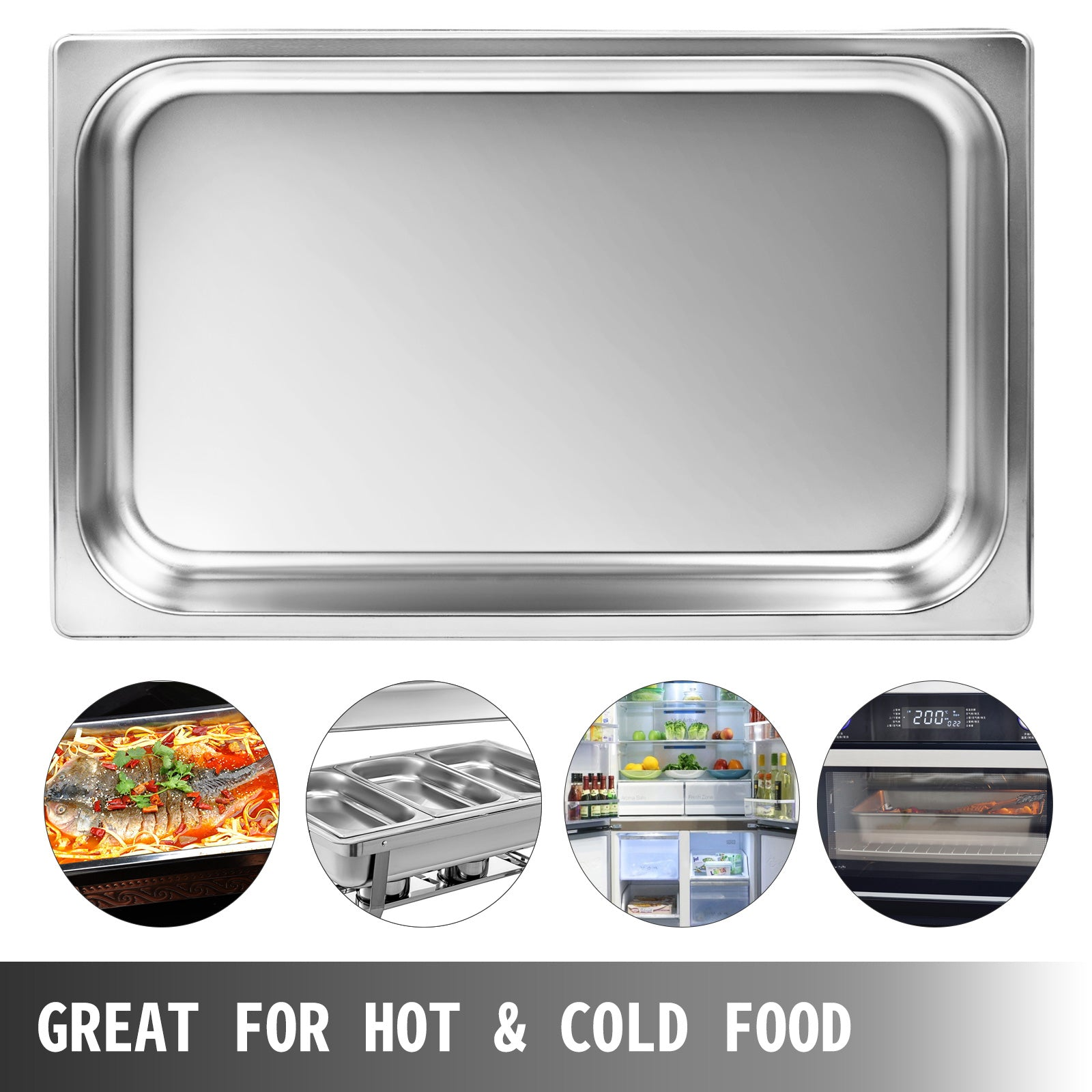"6 Pack Full Size 2"" Deep Silver Stainless Steel Hotel Steam Table Pans"