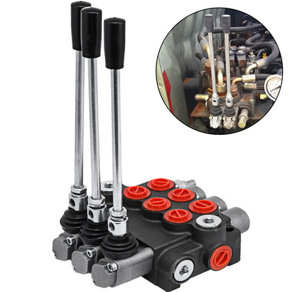3 Spool Hydraulic Directional Control Valve Double Acting 11 Gpm Adjustable