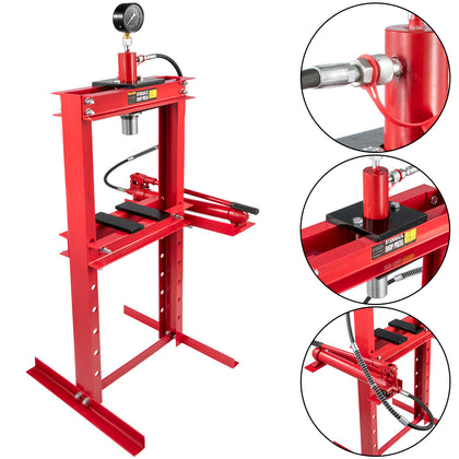 Hydraulic Press Shop Floor Press 12 Ton H-frame 26455 Lb W/ Heavy Duty Steel Plates Red