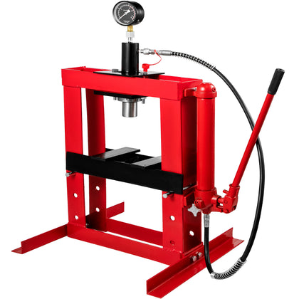 10 Ton Hydraulic Shop Press Floor Stand Jack Heavy Duty Portable With Gauge