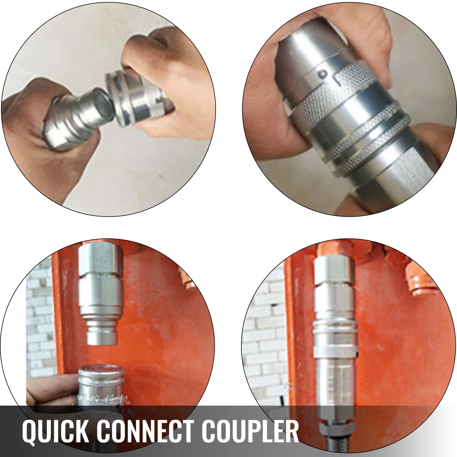 Vevor 1/4 Npt Skid Steer Bobcat Flat Face Hydraulic Quick Connect Coupling 1 Set