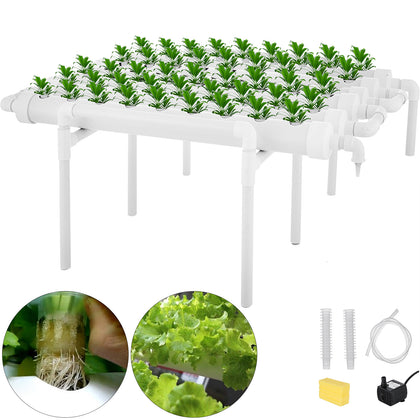 6 Pipes 1 Layer 54 Plant Sites Hydroponic Grow Kit Celery System Melons Planting