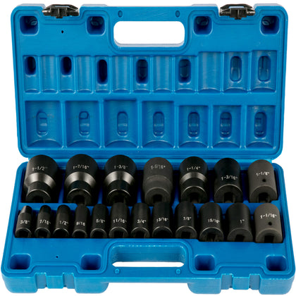Impact Sockets Set 1/2 Inches 19 Pcs, 3/8'' To 1-1/2'' Sae 6-point Extension Bar