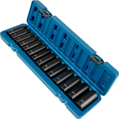 Vevor Deep Impact Sockets Set 1/2 Inch Drive 14 Pcs 10mm - 27mm 6-point W/ Case